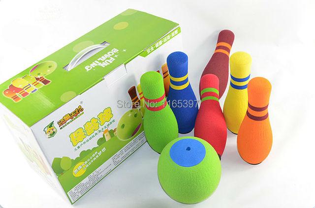 Freeship 1 setsoft espuma de borracha crianças colorido jogo de boliche jogo adolescente crianças PE esportes de equipe de treinamento físico atividade brinquedo do jogo