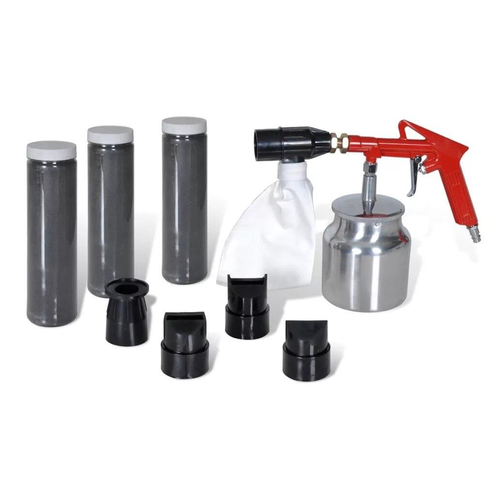VidaXL pistolet de sablage par gravité pneumatique petite Machine de sablage Set de sablage dispositif de sablage par rouille avec 3 bouteilles 4 Jet