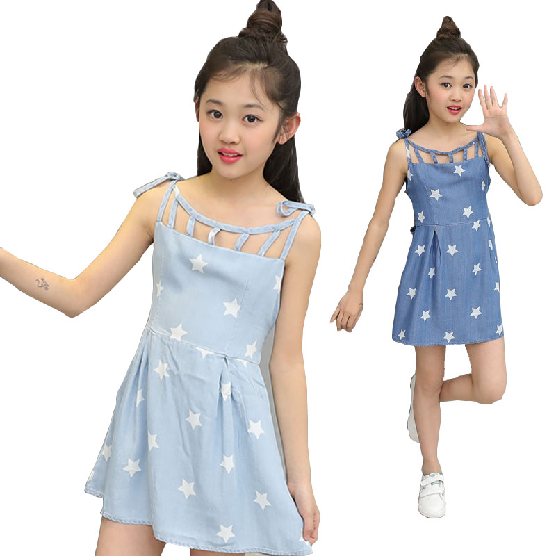 Girls Denim Dresses For Children Clothing Summer Kids Sling Dresses Casual  Princess Dress For 4 6 7 8 9 10 11 12 Years Vestidos hotfrost v 118 f