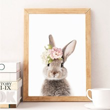 Girls Bedroom Decor Bunny Rabbit Nursery Wall Art Canvas Poster and Print Watercolor Flowers Animal Painting Pink Roses Picture(China)