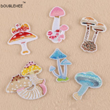 DOUBLEHEE Embroidered Iron On Patches Lovely Mushroom Cartoon Style Design Fashion Embroidery DIY Coat Shoes Accessories