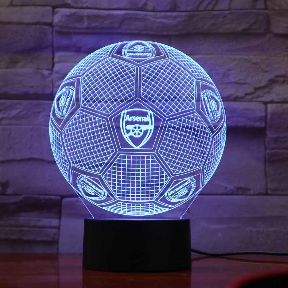 Arsenal FC Lampe optique LED illusion 3D Calcio Lampada Da Tavolo Camera Da Letto di Casa Decorativo Illuminazione di Umore Della Novità Regali