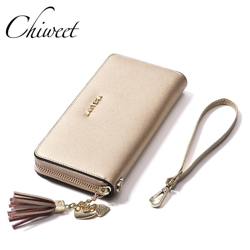 Luxury Brand Cow Genuine Leather Wallet Colorful Women Pink Wallets Tassel Pendant Ladies Long Wallet Female Money Clip Purses