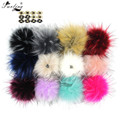 Furling 12pcs 13 cm Fashion Large Faux Raccoon Fur Pom Pom Ball with Press Button for Knitting Hat DIY 16 Colors Accessory