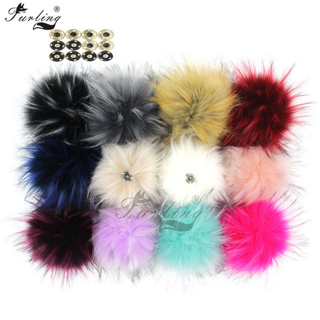 dae19dbf9 US $15.61 29% OFF|Furling 12pcs 13 cm Fashion Large Faux Raccoon Fur Pom  Pom Ball with Press Button for Knitting Hat DIY 16 Colors Accessory-in ...