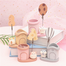 Sharkbang Kawaii Animal Hamster Resin Pen Holder Desktop Organizer Storage Holder School Office Stationery Kids Birthday Gift