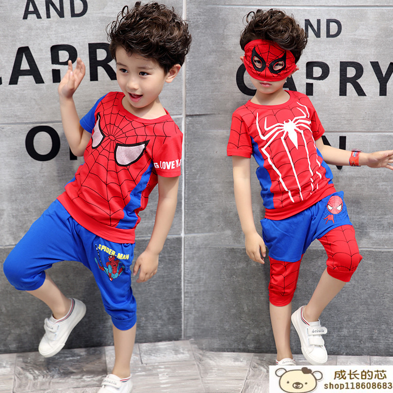 Boys Summer suit Spider-Man Childrens clothing 2018 New Children Thin section Cotton T-shirt + pants sports suit