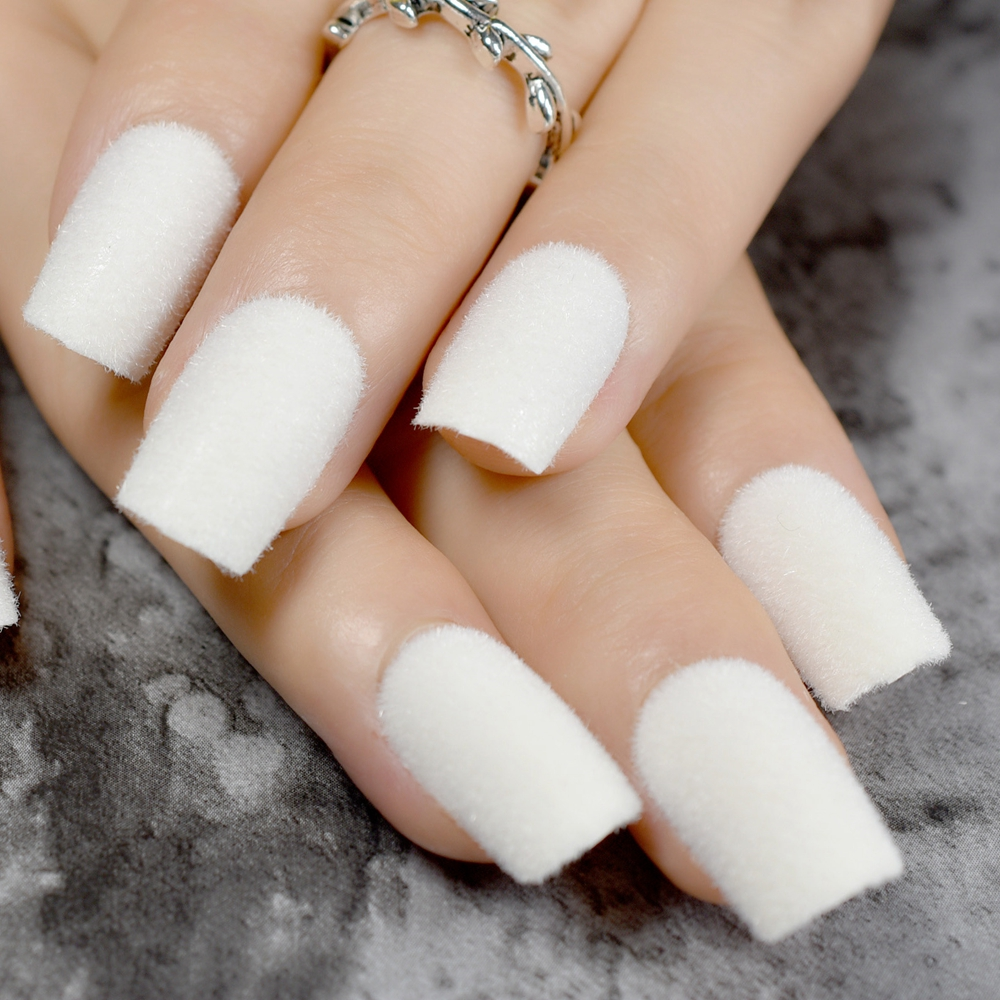 Warm Velvet Fake Nails White Matte Acrylic Flocking Powder Decoration False Nail Art In From Beauty Health On