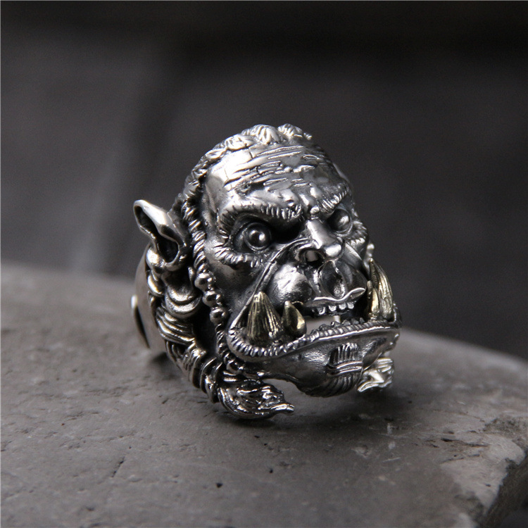 silver S925 pure silver with section head of warcraft ring Thai silver restoring ancient ways is domineering male ring 925 silver men s ring thai silver national wind restoring ancient ways domineering silver ring pop open wholesale offered