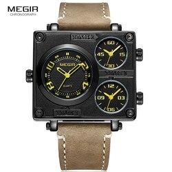 MEGIR męska kwarcowy zegarki wielu strefa czasowa kwadratowa tarcza armia zegarek sportowy człowiek chłopcy Top marka Relogios Masculino 2069 czarny w Zegarki kwarcowe od Zegarki na
