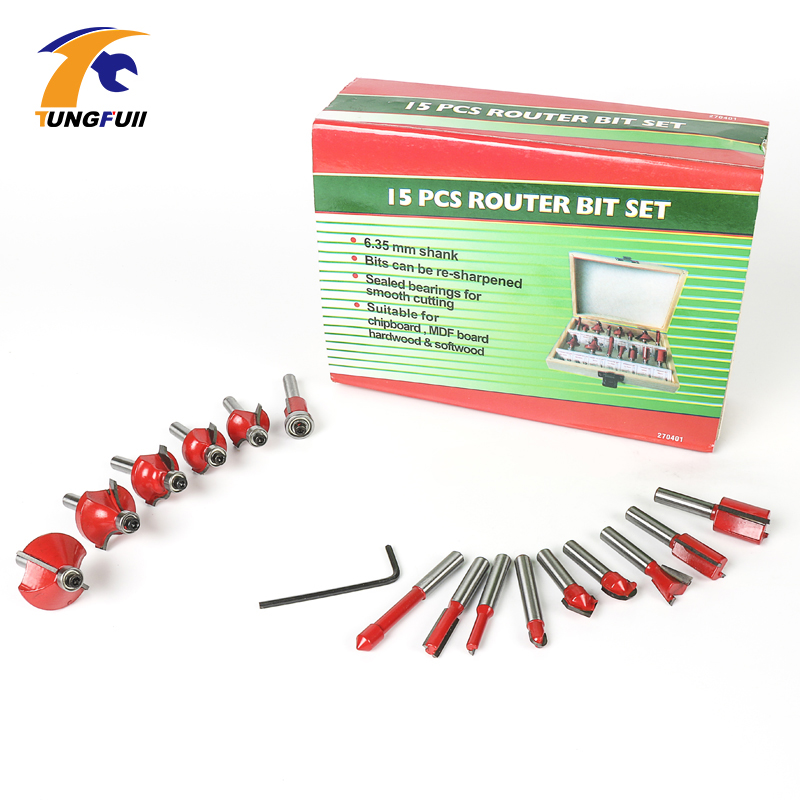 "15pc Router Bit Set 1//4/"" Shank Wood Working Power Tools Carbide Tipped W// Box"