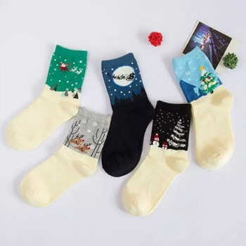 1 Pairs Christmas Women Girls multicolor Tree Snowman Deer Print Socks tube socks Women Casual Comfortable Crew Socks Xmas sock