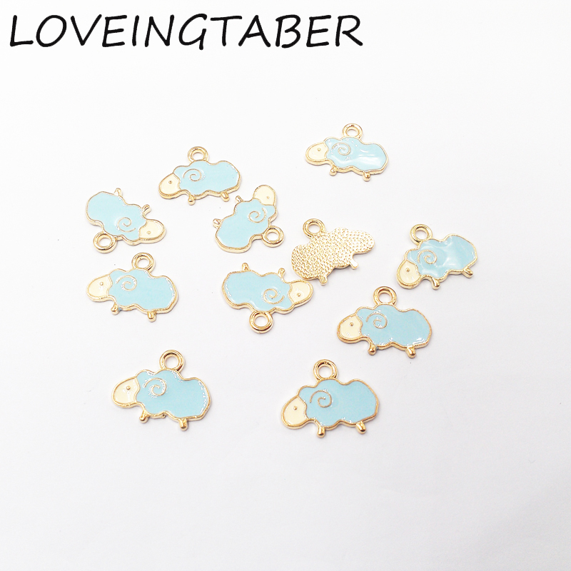 Wholesale 19mm 12mm 30pcs lot Gold Pink   Blue Sheep Enamel Small Charm  Pendants-in Charms from Jewelry   Accessories on Aliexpress.com  f5f8e23bcb89