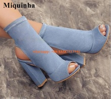 2017 Hot Selling Women Fashion Open Toe Blue Denim Thick Heel Ankle Boots Slip-on Bandage Super High Short Boots Jean Boots