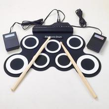 Profesional 7 Pad Digital Portátil Plegable Musical Silicona Roll-up Electronic Drum Pad K Conjunto con el Palo