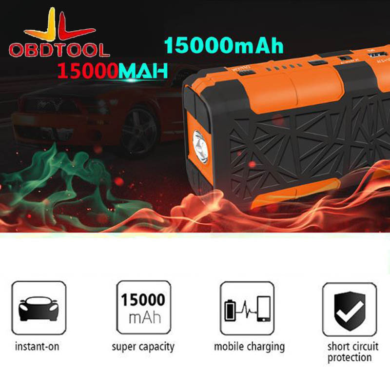 Dual USB Emergency 12V Auto Power Battery Car Jump Starter Booster 15000mah Power Bank Work Gasoline 5000cc Diesel 3000cc