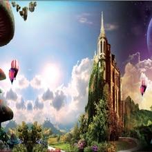 5x7FT Алиса чудес Замок и грибы Зеленый Горный путь студийный фон Виниловый фон 220 см x 150 см