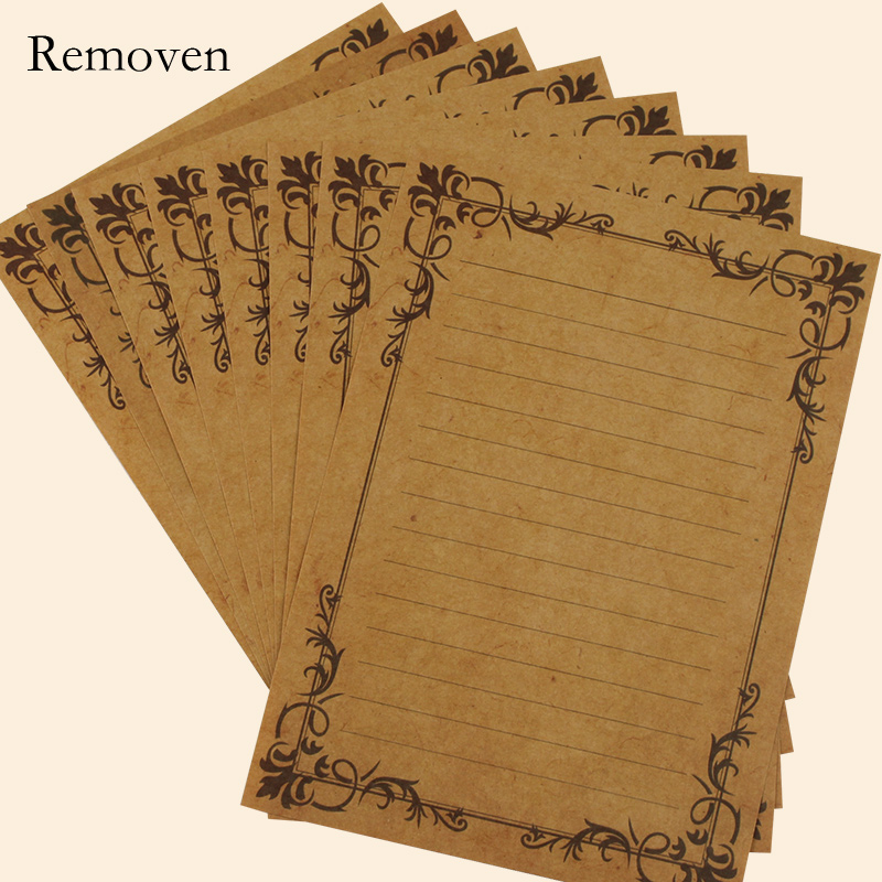 Removen Vintage Europe Antique Lace Vine Grained Style Craft Paper Glazed Printing Paper Letter Set With 8pcs