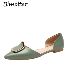 Bimolter Women Leather Shoes Pointed Toe Ladies Flat Office Lady Flats Spring Slip On Metal Two Piece Footwear NC049