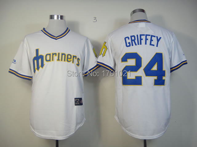 Free Shipping Men s Throwback New Seattle Mariners Baseball Jersey 24 Ken  Griffey Jr Jerseys Wholesale Blue White Green Stitched-in Baseball Jerseys  from ... 80b184a9bd93