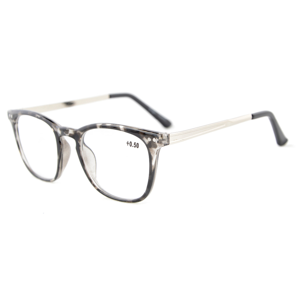 rj003 eyekepper readers retro square plastic frame metal arms reading reading glasses from
