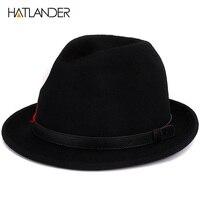 [HATLANDER] di alta qualità 100% di lana nero Fedora per le donne mens trilby Jazz caps Gambler cappelli chiesa inverno gentleman top hat
