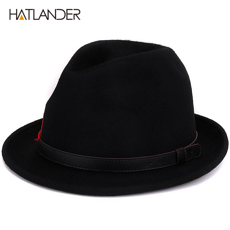 HATLANDER high quality 100% wool black Fedoras for women mens trilby Jazz  caps Gambler church hats winter gentleman top hat bb5eac1c49a0