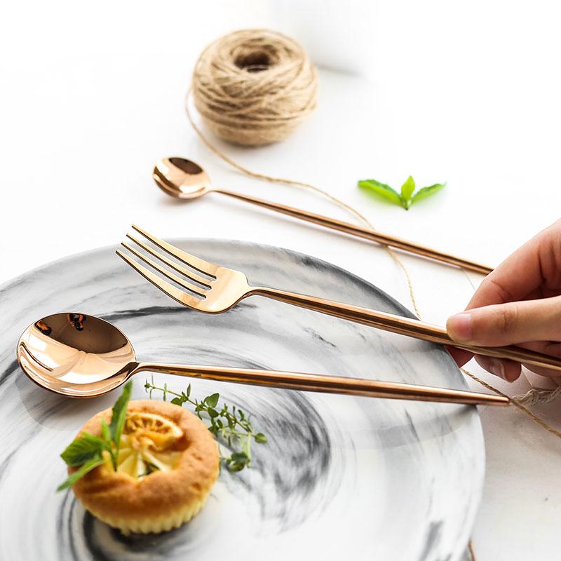 24pcs/6 set 304 Stainless Steel Mirror Tableware Set Rose Gold Silver European Western Food Dinnerware Sets knife Forks Teaspoon-in Dinnerware Sets from Home & Garden    3