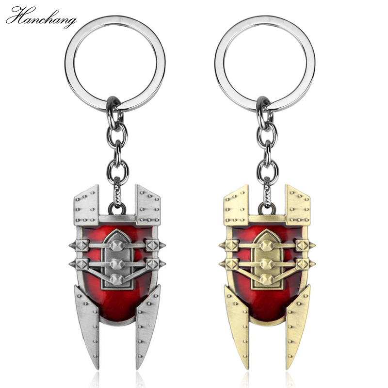 Hot game LO L the Mad Chemist Singed red Shield intricate Pendant Keychain durable keyring New design chaveiro Gift for Men