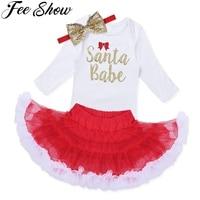 3Pcs Christmas Baby Romper Newborn Infant Baby Girls Long Sleeves Santa Babe Romper Tutu Skirt Headband