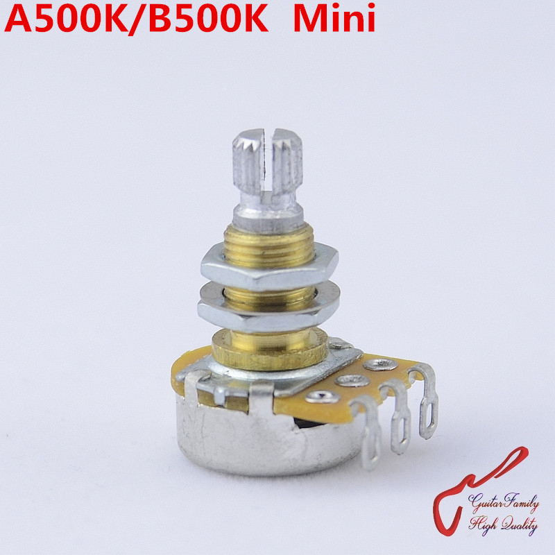 1 Piece GuitarFamily Alpha Brass Shaft A500K/B500K  Mini Potentiometer(POT) For Electric Guitar Bass  ( #1148 ) MADE IN KOREA guitar bass pickup a250k push pull control pot potentiometer for electric guitar accessories ea14