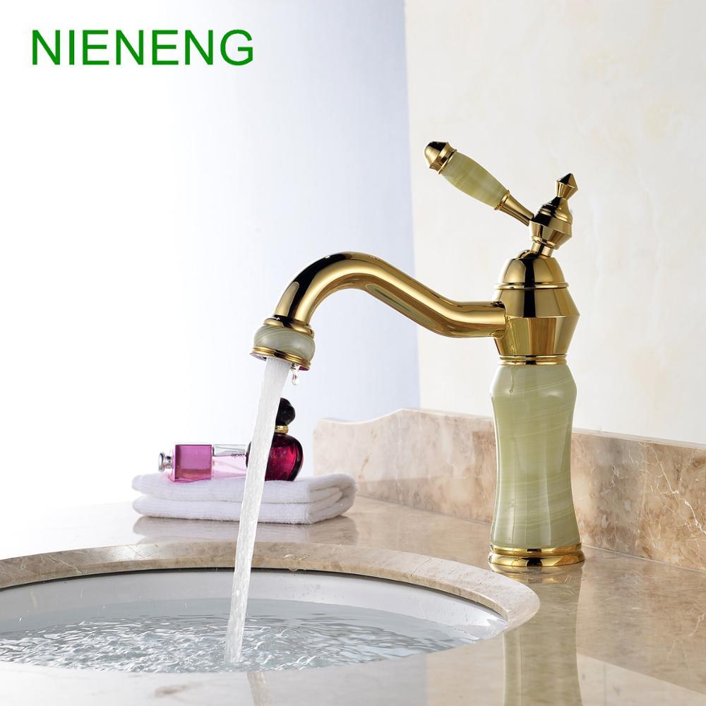 NIENENG basin faucet retro bronze faucets sumptuous bathroom bowlder sink faucet gem mixer tap home facility water taps ICD60215