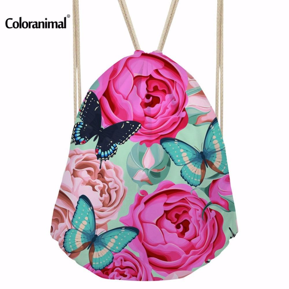 Coloranimal Flower Print Women Travel Drawstring Bags Mochila Feminina Cinch Sack Bag Trend Brand String Bag Backpack Sac A Dos