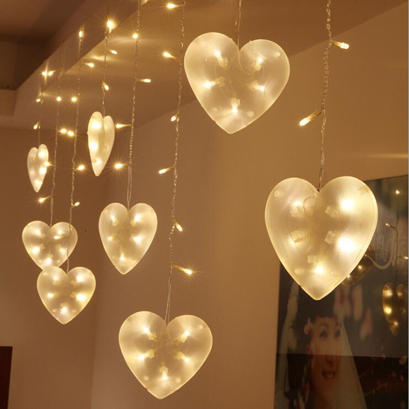 Curtain Of String Lights : New 8 Mode Controller Heart Led Curtain String lights 3M 220V Christmas Lights Holiday Wedding ...