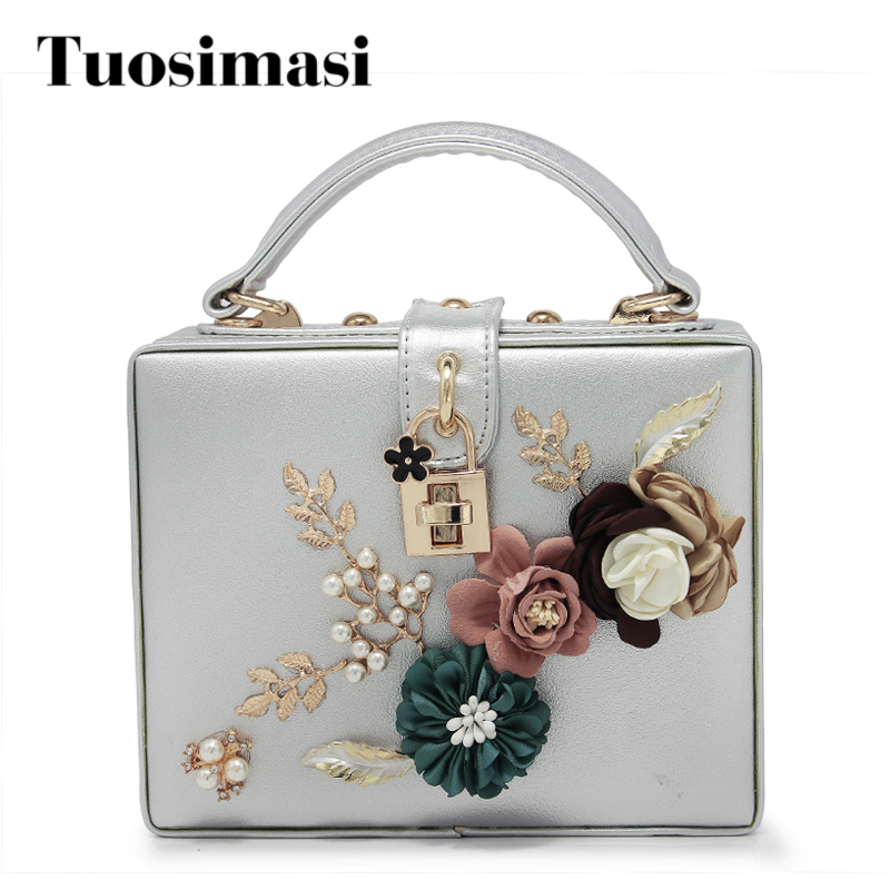 PU Flower Beaded Fashion Women Shoulder Handbags Messenger Crossbody Bags Evening Totes Bag Box Clutch Purse(C1519) fashion box evening bag oil painting flower black lock clutch bag strap mini tote bag ladies purse trunk white women handbags