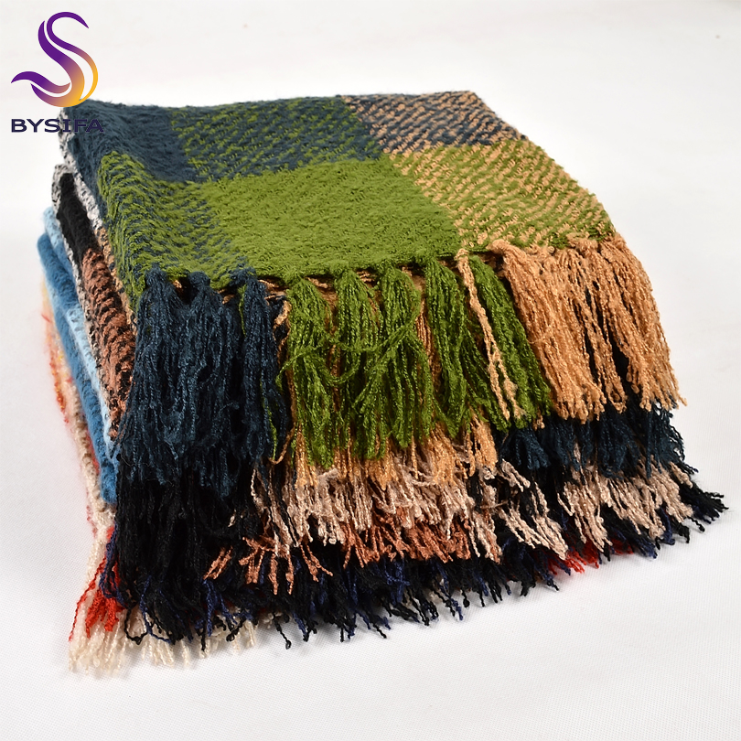 BYSIFA| Autumn Winter Woolen   Scarves   British Plaid Women Men Green Blue Black   Scarves   New Brand Warm Thicken Large   Scarves     Wraps