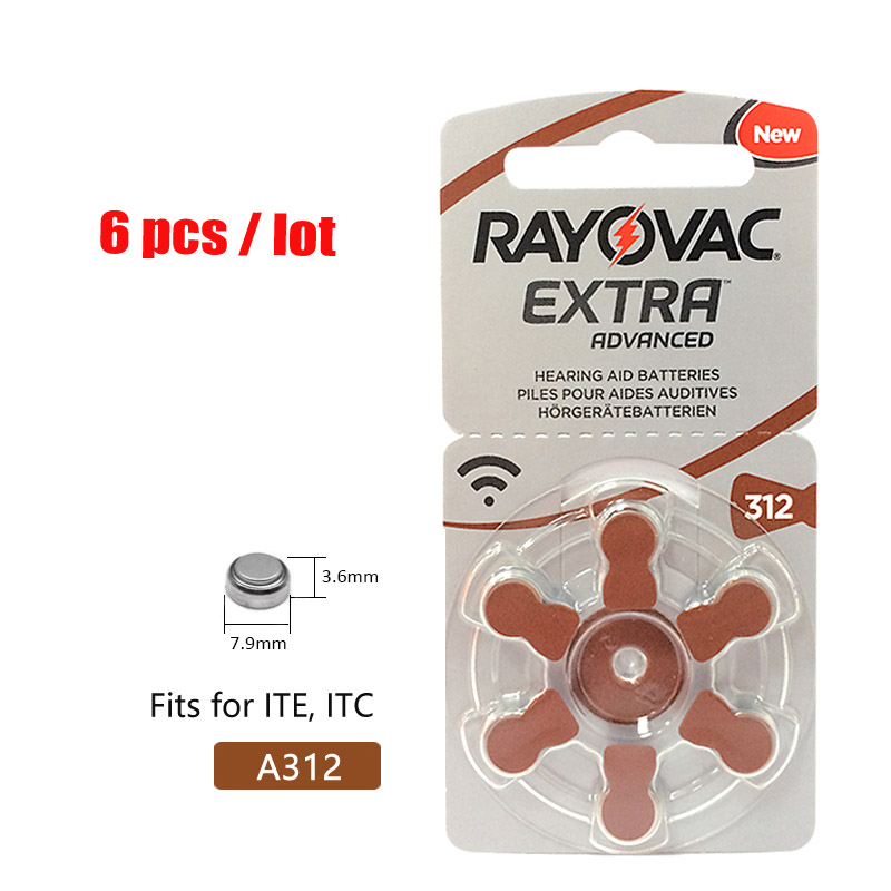 6PCS RAYOVAC EXTRA A312 Zinc Air Performance Hearing Aid Batteries A312 312A ZA312 312 PR41 Hearing Aid Battery