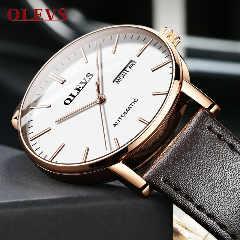 OLEVS 2019 Sport Ultra-thin Mechanical Watch Men Automatic Classic Rose Gold Leather Mechanical Wrist Watches Reloj Hombre NEWOLEVS 2019 Sport Ultra-thin Mechanical Watch Men Automatic Classic Rose Gold Leather Mechanical Wrist Watches Reloj Hombre NEW