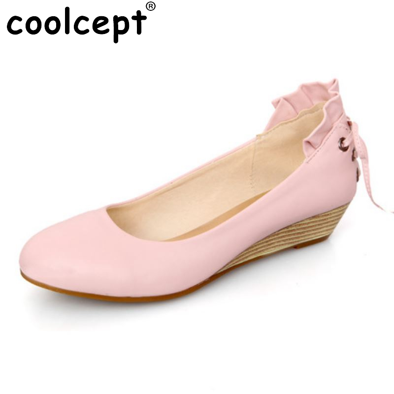 Women Wedge Shoes New Design Back Lace-Up Round Toe Shoes Woman Party High Quality Pumps Shoes Heeled Footwear Size 34-39 nayiduyun women genuine leather wedge high heel pumps platform creepers round toe slip on casual shoes boots wedge sneakers