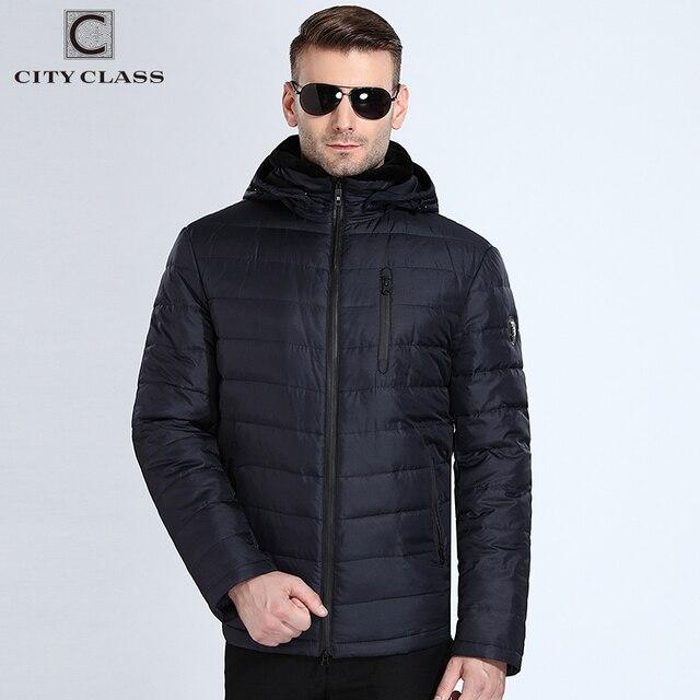 Город класса BioDown пальто Для мужчин ягненка меховой воротник съемный капюшон теплые парки для русской зимы куртки модные мужские пальто 17806