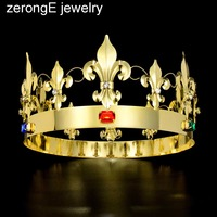 zerongE jewelry Crystal Men Crown Pageant Prom Head Kings Diadema Headdress gold Tiaras and Crowns Hair Jewelry Accessories