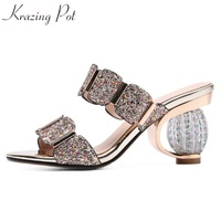 Krazing Pot Brand Shoes Round Crystal High Heels Women Sandals Shallow Bling Decorations Wholesale Modern Girl