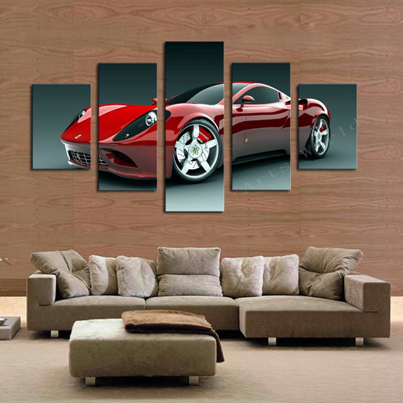 aliexpresscom buy 5 pcsno frame red sports car wall art picture home decoration living room canvas print painting wall picture print on canvas from