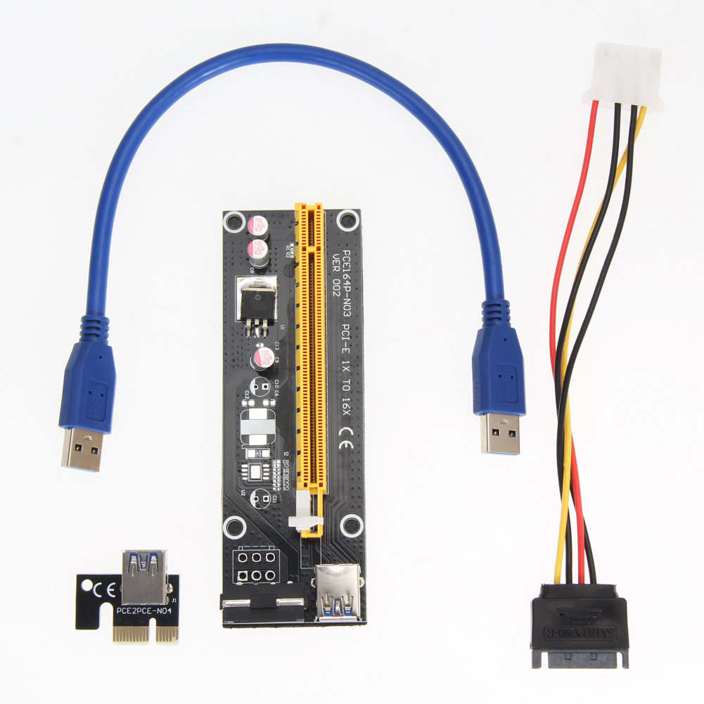 PCI-E x1 Extension Board Riser Card with USB 3.0 Cable
