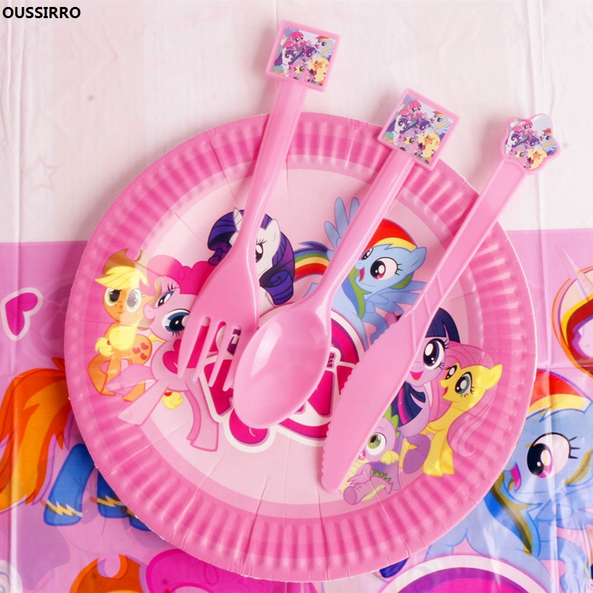 OUSSIRRO Cute Horse Cartoon Theme children Birthday Party Supplies Decoration Dishes x 10 + Spoon x 10 + Fork x 10 + Knife x 10