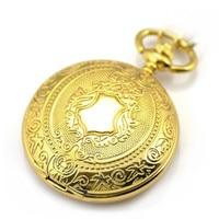 Luxury Gold Pocket Watch Men Skeleton Bronze Automatic Mechanical Vintage Hand Wind Clock Necklace Pocket Fob