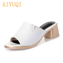 AIYUQI Women summer slippers 2019 new genuine leather women big size fashion mid heel outdoor sandals footwear