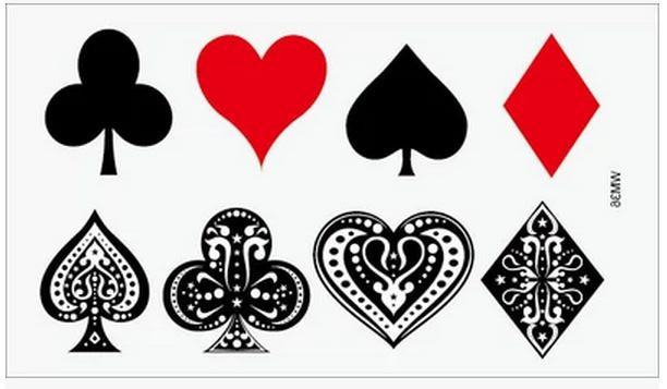 (Min Order $0.5) Temporary Tattoo For Man Woman Waterproof Stickers Makeup Maquiagem Poker Spades Hearts Diamonds Clubs WM050