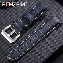 Genuine Leather Blue Watch Bands Silver Black Metal Buckle WatchBand Strap 20mm 22mm 24mm 26mm Watch Accessories Bracelet все цены