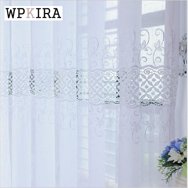 Luxury Embroidered Floral White Sheer Curtains For Living Room Window Bedroom Tulle Cortinas High Quality Fabric Drapes S191&20